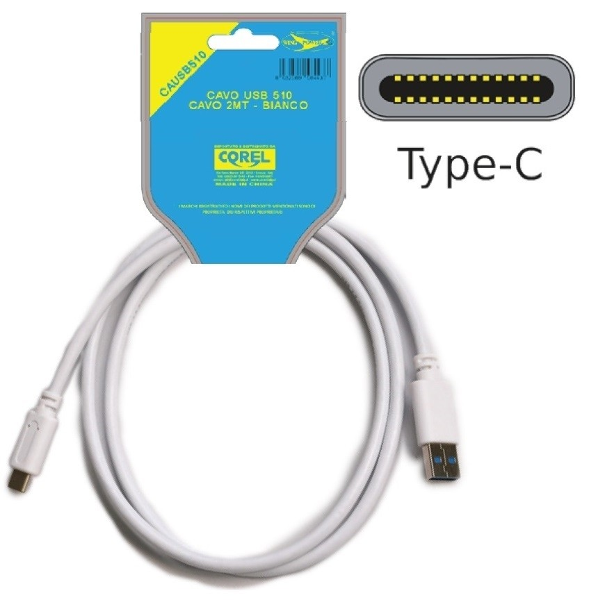 CAVO SPINA USB 3.0 MALE A TIPO C 50mm 9+1 BIANCO 2mt