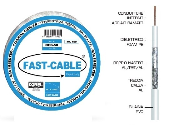 CAVO COASSIALE 75Ω 5mm 600mt (6X100mt)