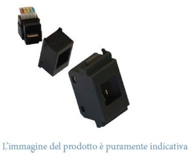 KIT CONNETTORE RJ45 CAT6+ADATTATORE NERO